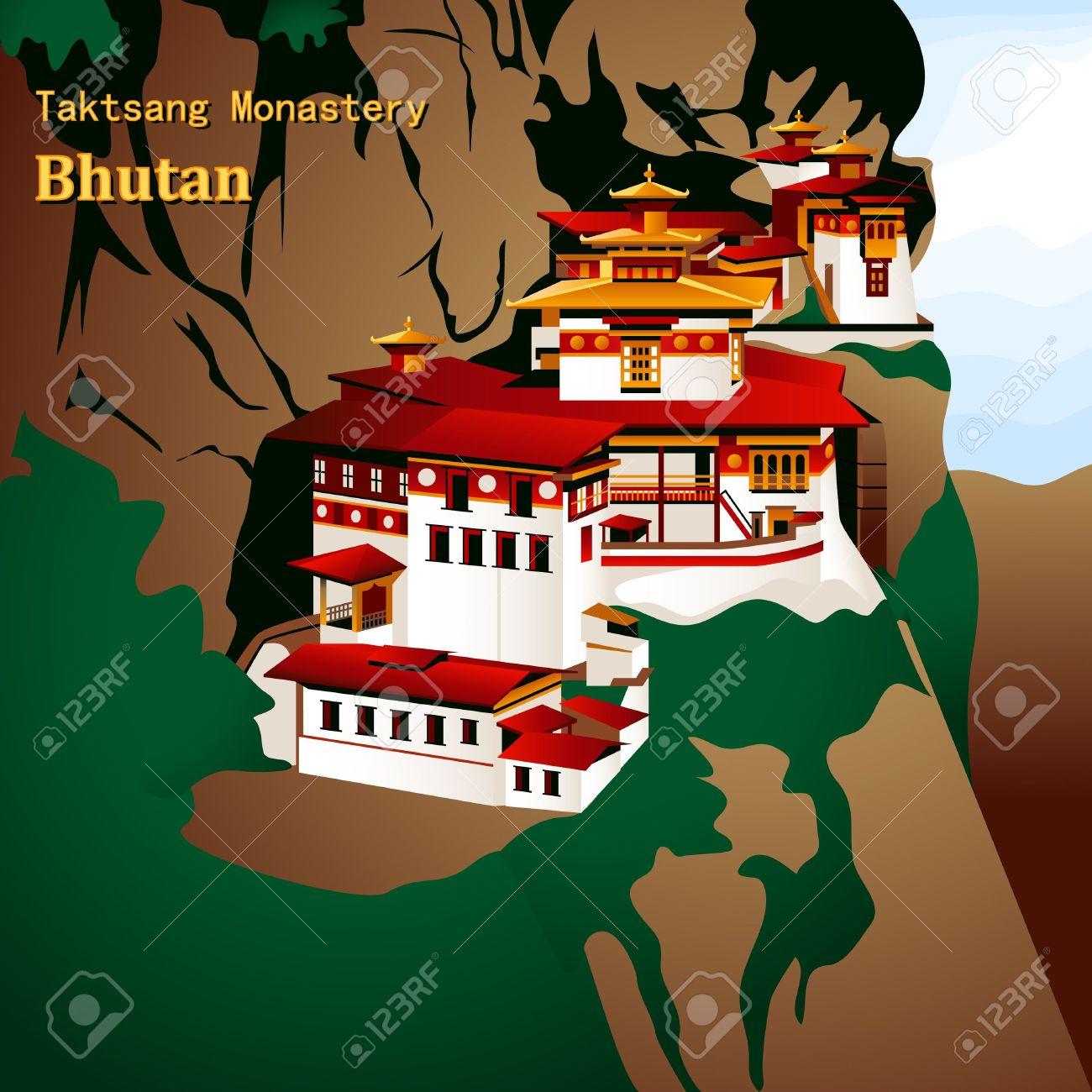 Taktsang Palphug Or Tiger Nest Monastery Royalty Free Cliparts.