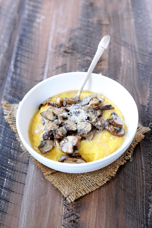 Polenta with Taleggio and Mushrooms.