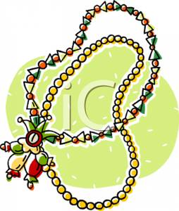 Gras Beads with a Jester Talisman Clipart Picture.