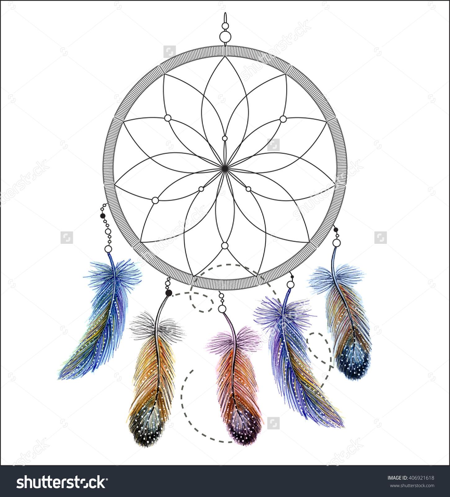 Watercolor Clip Art Native American Indian Stock Illustration.