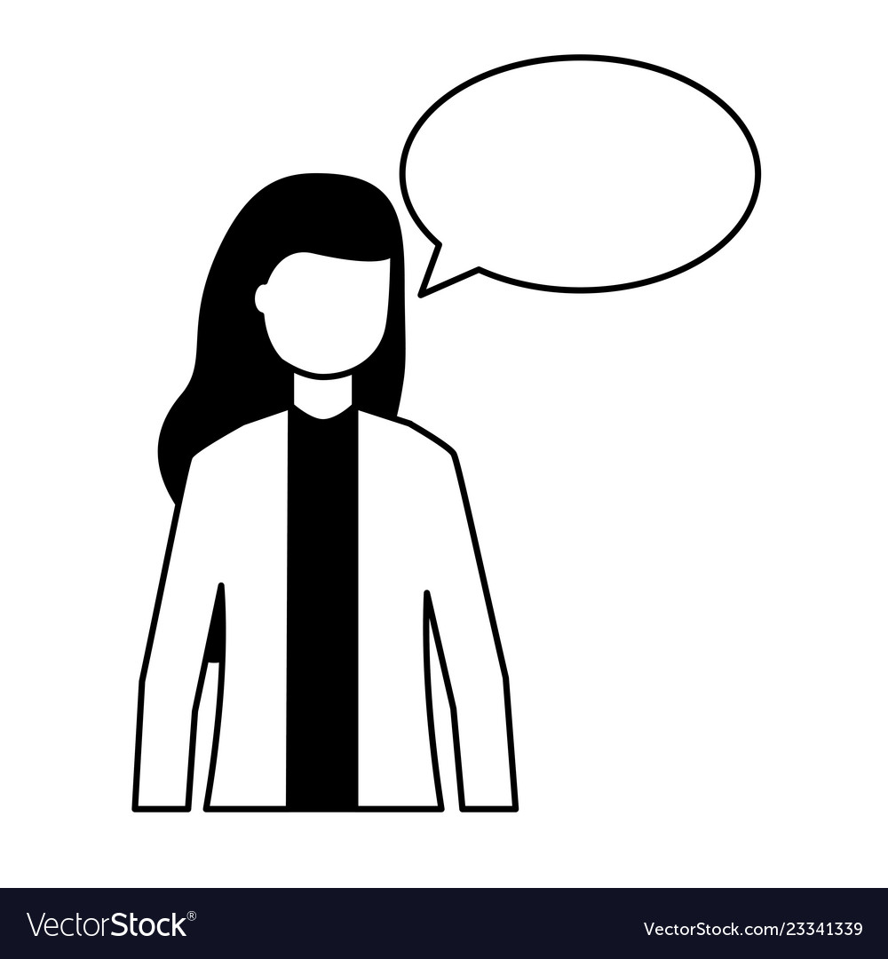 Woman speech bubble talk white background.