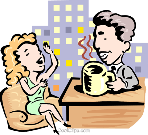 Talk show host and guest Royalty Free Vector Clip Art illustration.