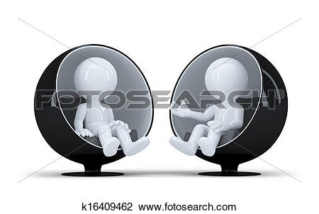 Clip Art of People sit in a modern round chair facing each other.