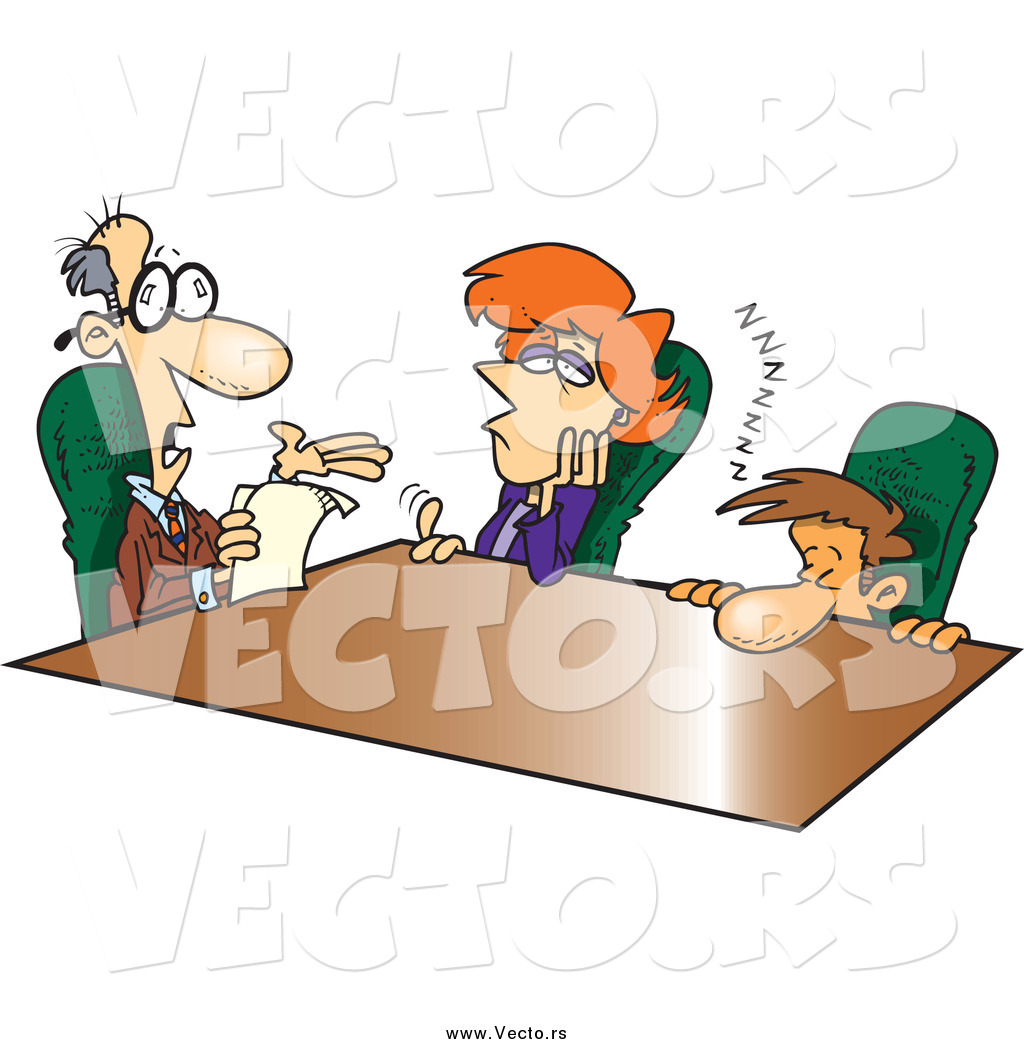 Vector of Cartoon Bored Employees and a Talkative Boss in a.