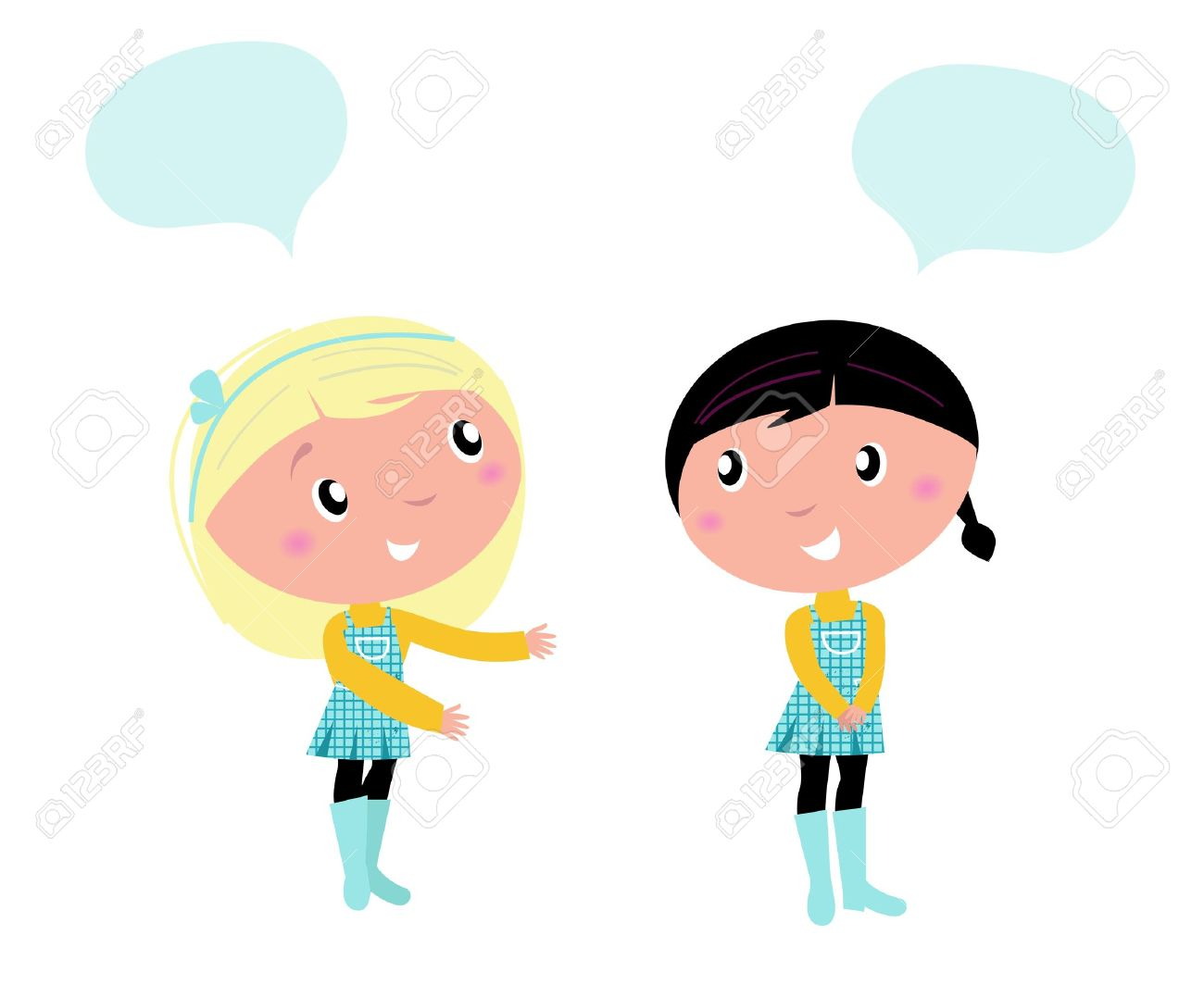 Girls Talking To Each Other Clipart.