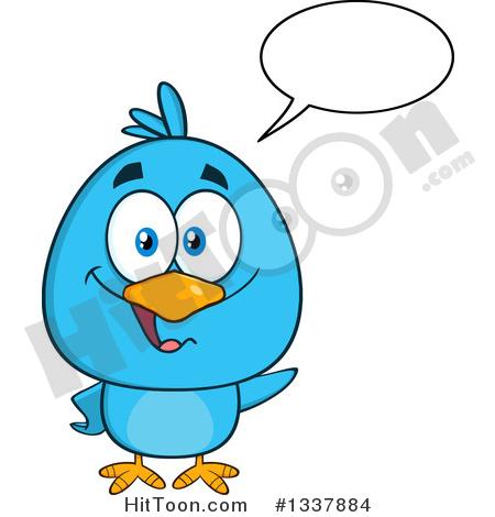 Bluebird Clipart #1337884: Cartoon Blue Bird Talking and Waving by.