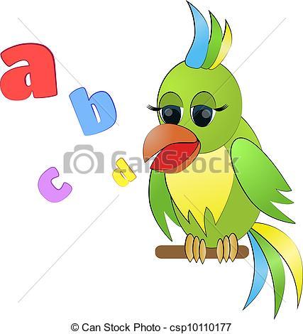 Vectors Illustration of Talking parrot.