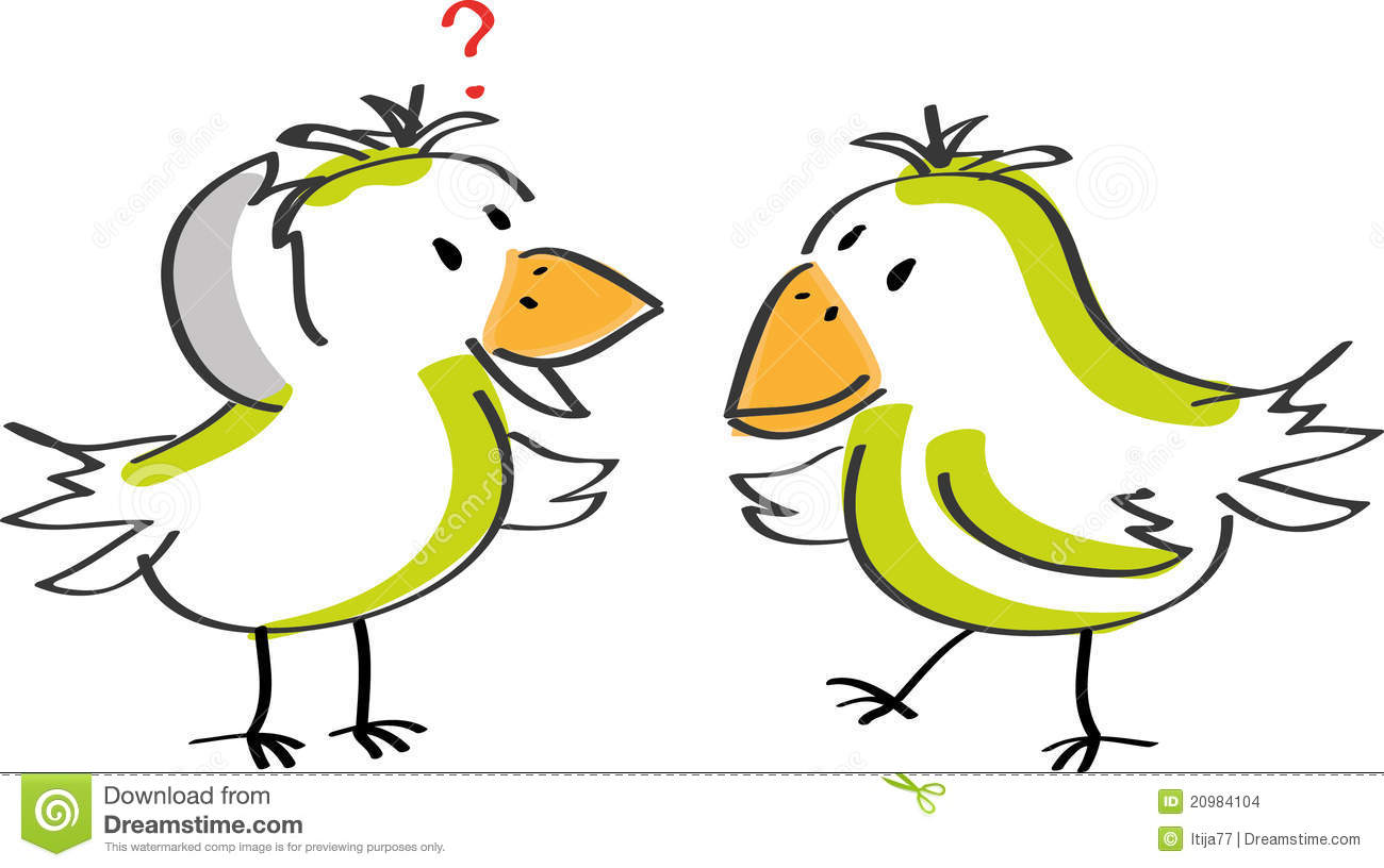 Two Talking Birds Stock Images.