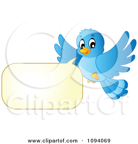 Clipart Blue Bird Flying And Talking.
