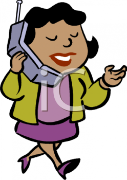 Talking On Phone Clipart Woman Business Image.