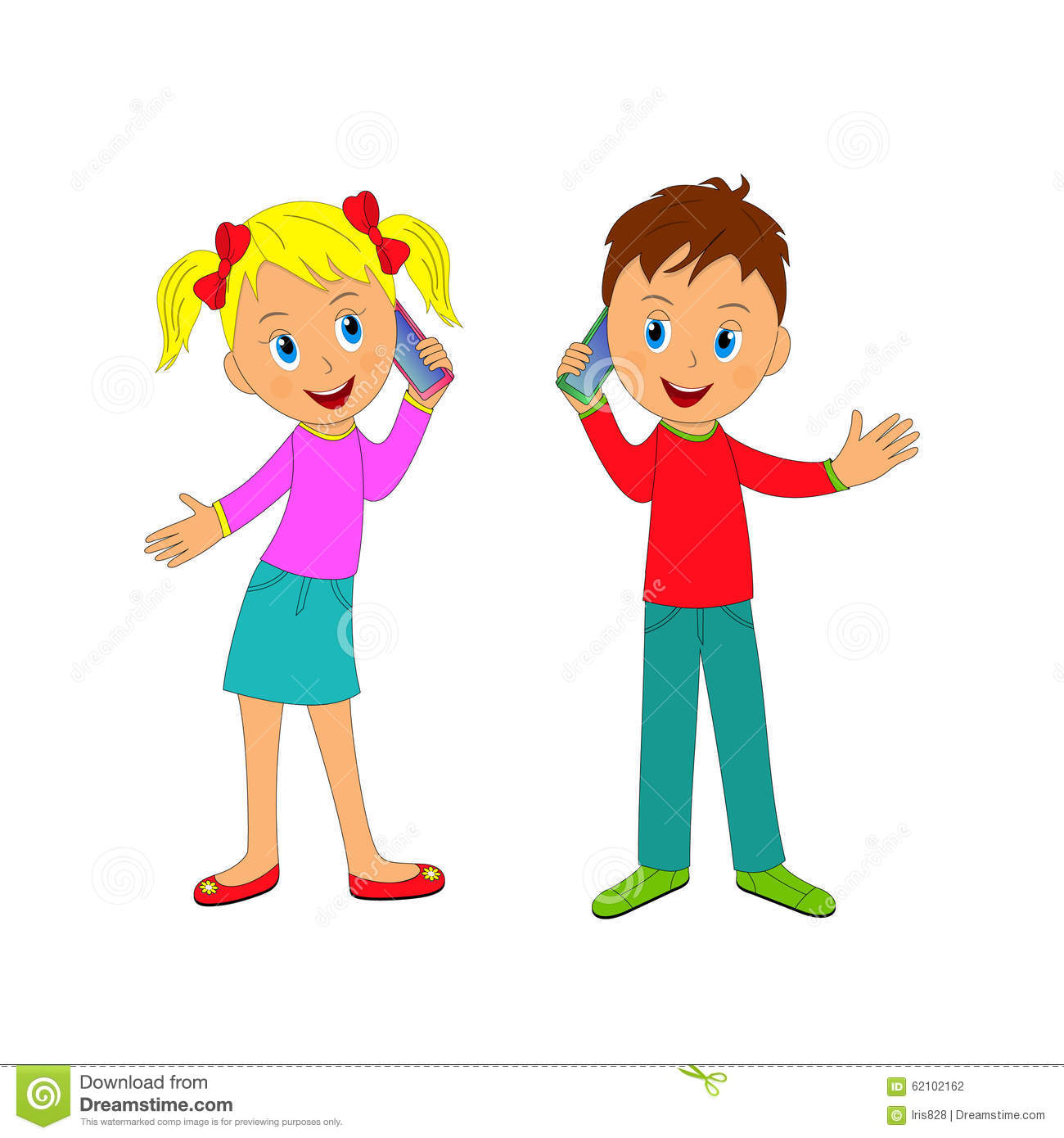 Boy And Girl Talking On The Phone Stock Vector Image.