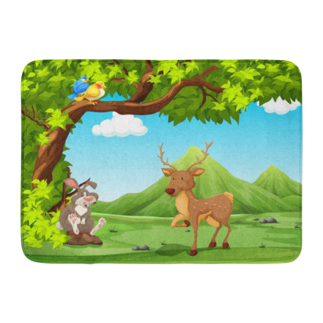 GODPOK Deer Talking Scenery of Animals Sitting Under Big Tree Clipart Junle  Rug Doormat Bath Mat 23.6x15.7 inch.