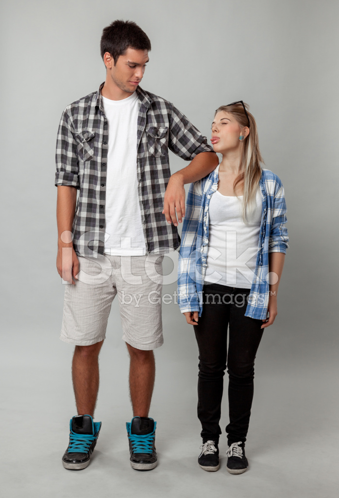 Tall and Short Friends Stock Photos.
