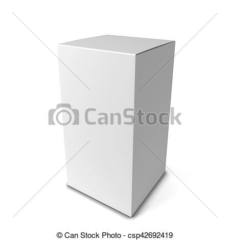 Clipart of Blank tall box . 3d illustration isolated on white.