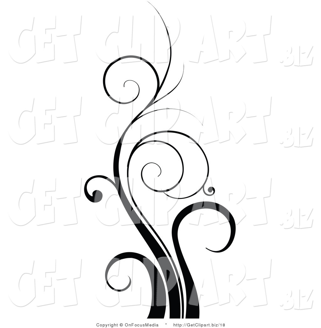 Clip Art of a Tall Black Flourish Design Element of Curling.