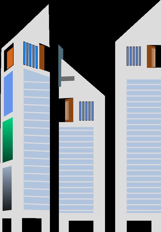 Free Three Tall Buildings Clip Art.