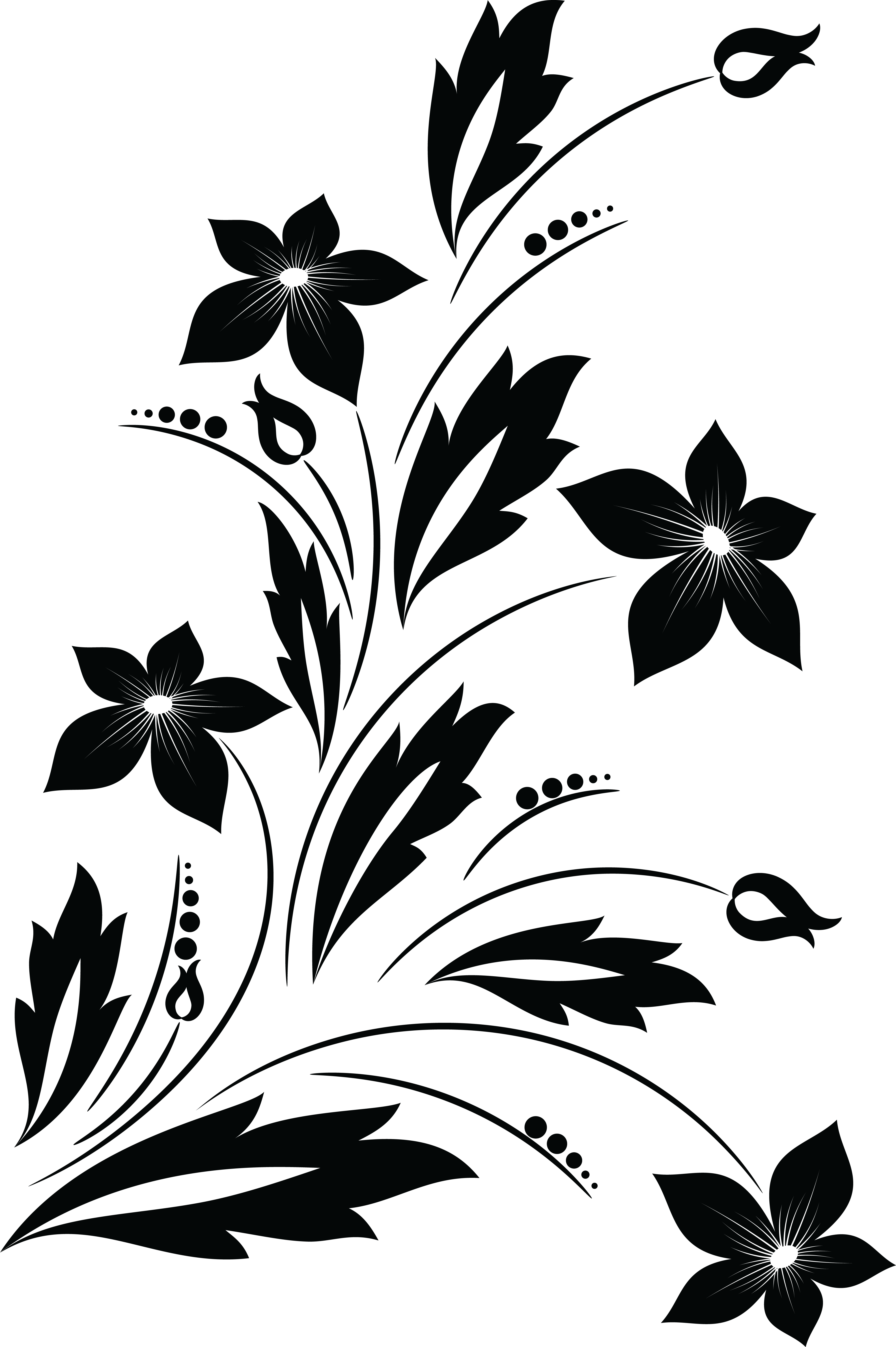 Free Clipart Of A Black And White Floral Vine Design Element.