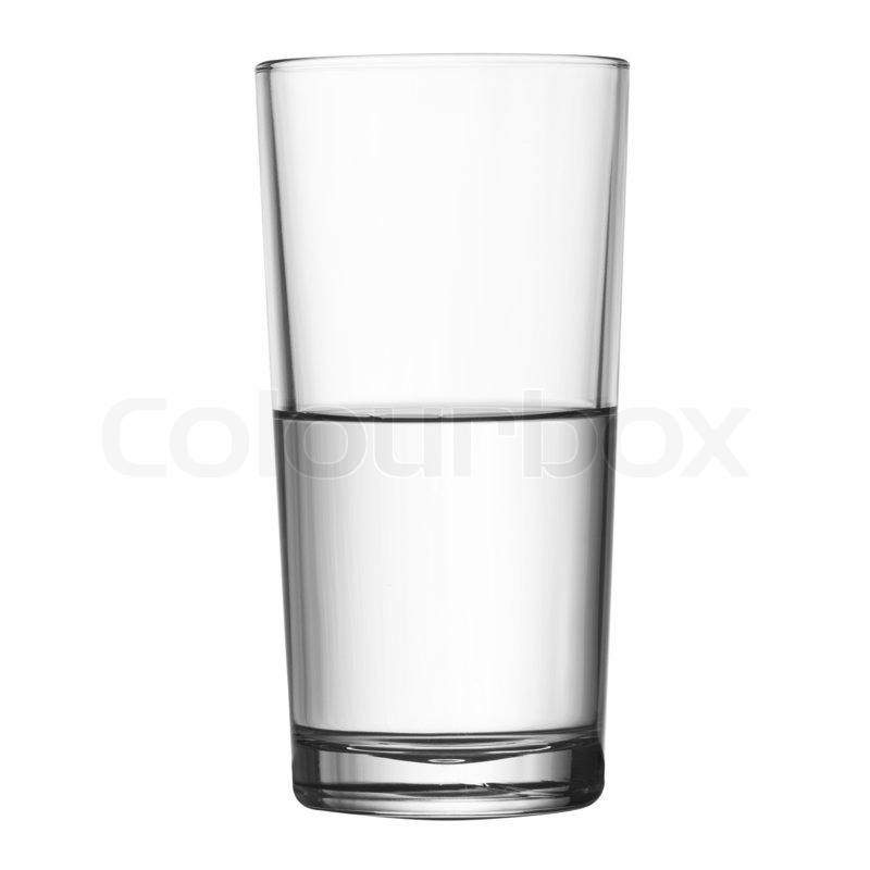 Tall half full glass of water isolated.