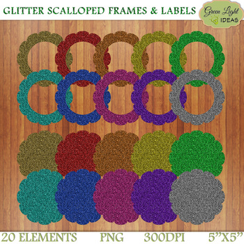 Glitter Scalloped Frames And Labels Clip Art.