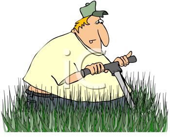 Royalty Free Clipart Image of a Man Mowing Long Grass.