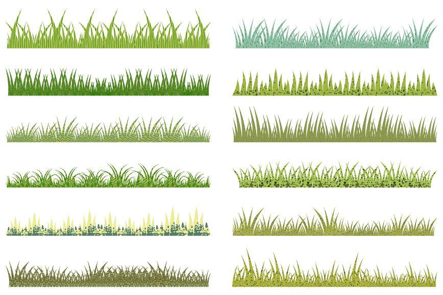 Long green grass border clip art set, Textured grass clipart.
