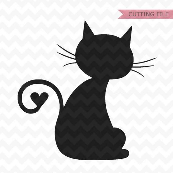 Cat SVG, cat heart tail svg, cat with heart svg files for.
