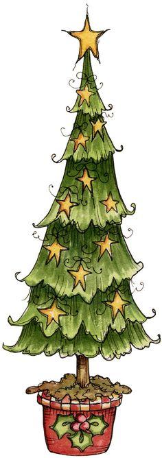 Primitive Christmas Tree Clipart.