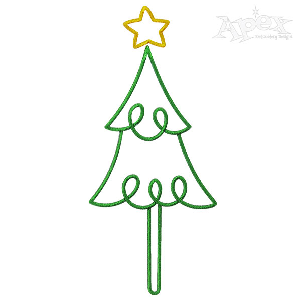 Christmas Tree Embroidery Design Tall Narrow.