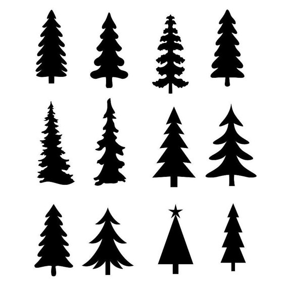 Christmas Tree Evergreen Clipart Silhouettes, eps dxf pdf.