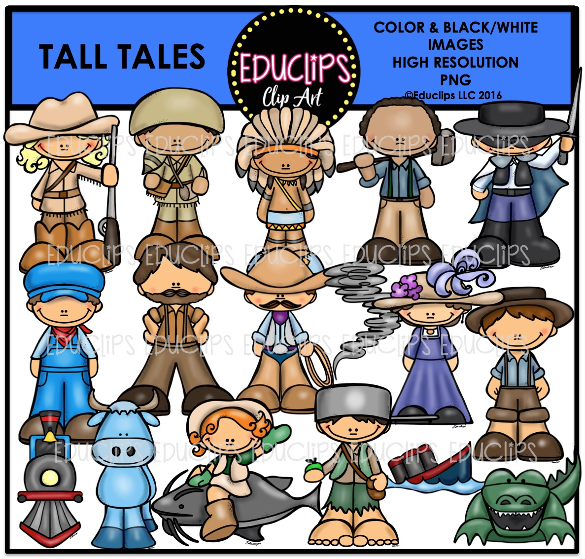 Tall Tales Clip Art Bundle (Color and B&W).