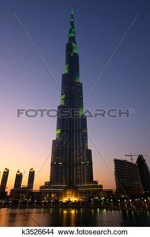 Stock Photo of Burj Khalifa tallest building in the world reaching.