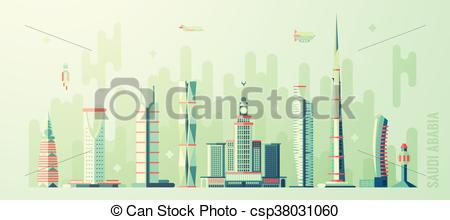 Clip Art Vector of Saudi Arabia skyline world tallest building.
