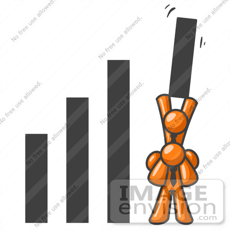 Clip Art Graphic of an Orange Guy Character Lifting His Business.