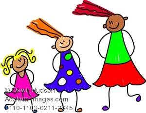 Diverse Group of Little Girls Clipart Image.