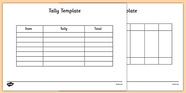 Tally Chart Template.