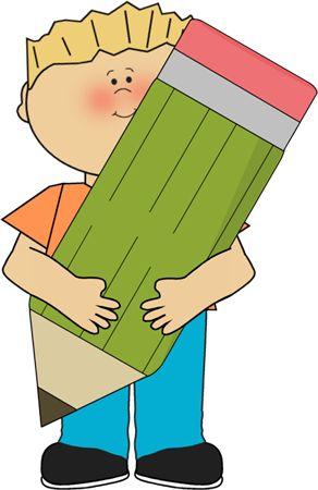 Boy holding a big pencil..