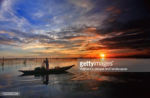 Sunrise On Tam Giang Lagoon Stock Photo.