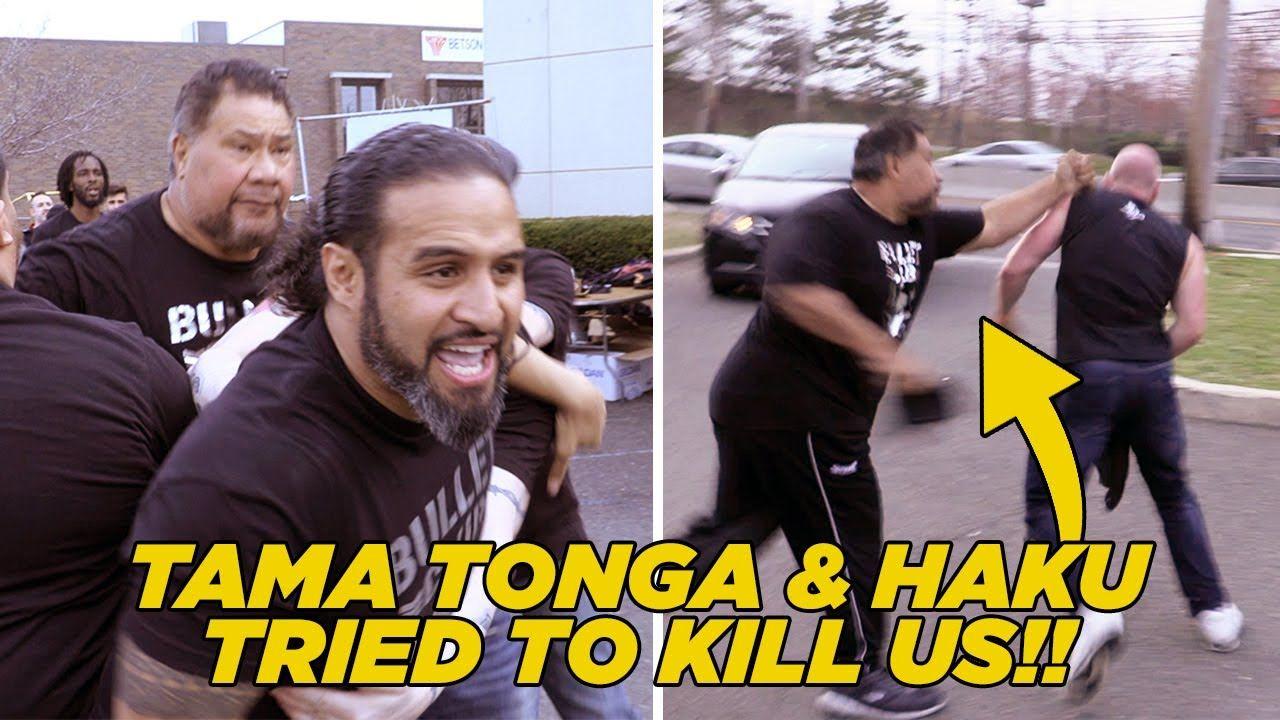 Tama Tonga & Haku Attack WhatCulture At Bullet Club Block.