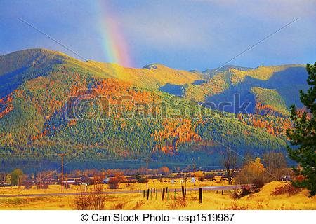Picture of Montana Gold Abstract Rainbow Over Tamarack Trees Fall.