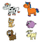 Tame animals clipart.