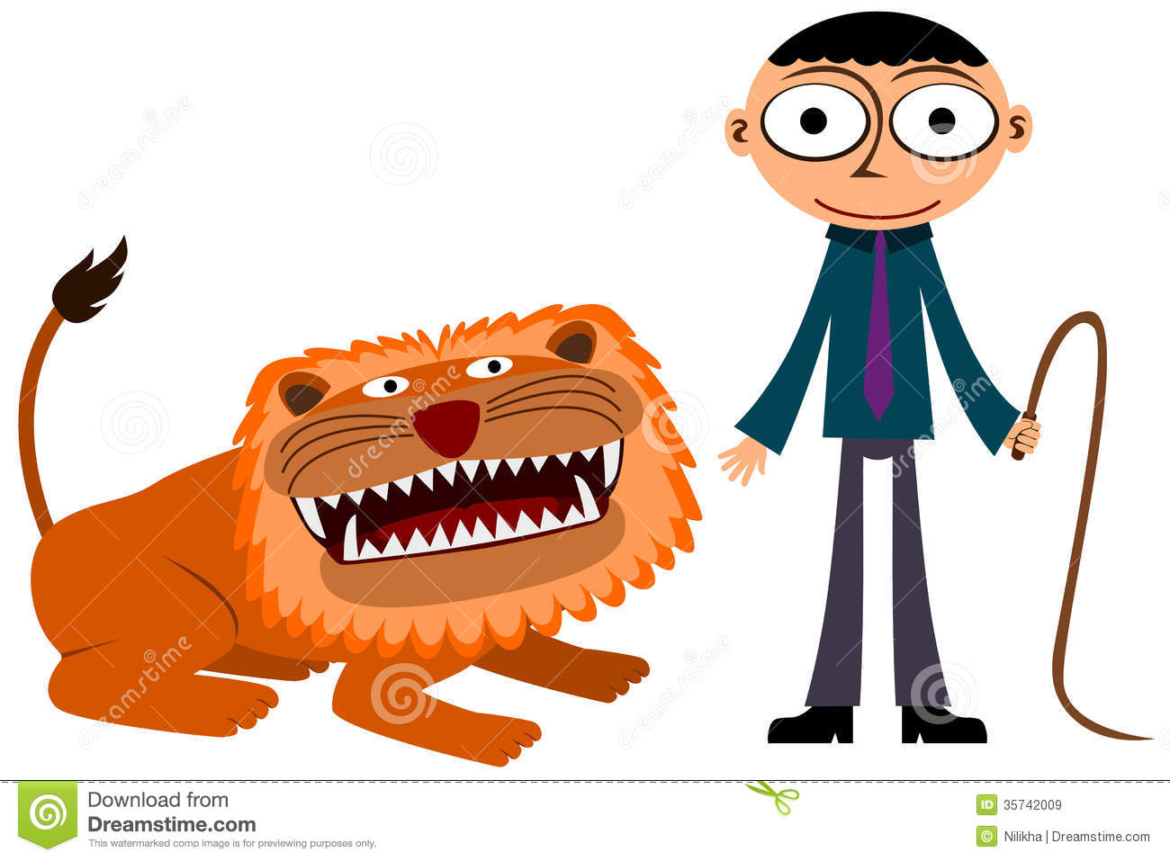 The Business Man And The Lion Royalty Free Stock Images.