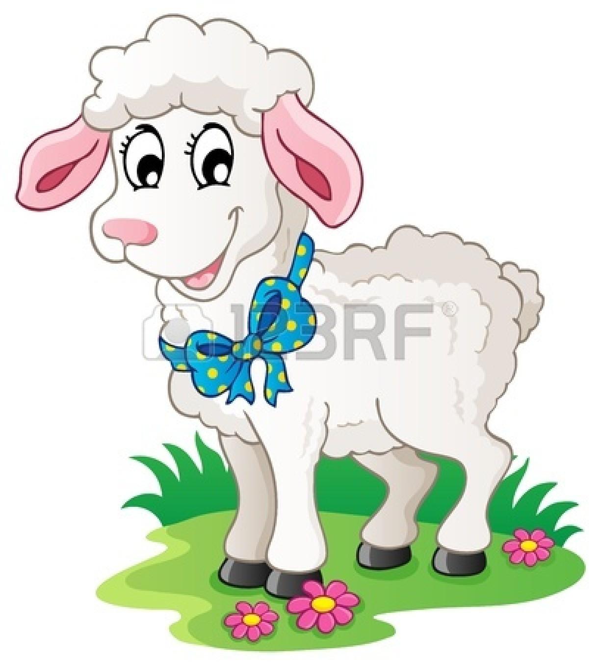 tame : Cute cartoon lamb.
