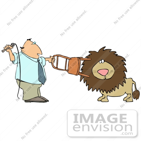 Clip Art Graphic of a Man Using a Chair and Whip to Tame a Lion.