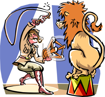 Royalty Free Clipart Image: Lion Tamer in the Circus Performing.