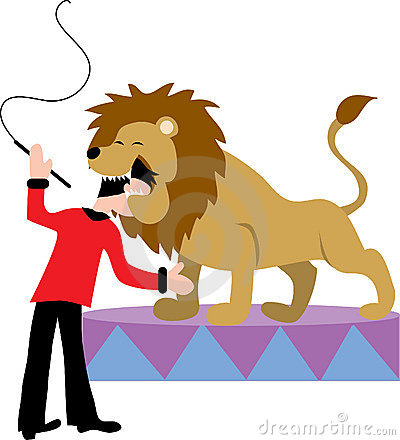 Lion Tamer With Lion. Stock Photos.