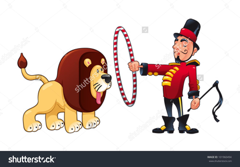 Lion Tamer Lion Funny Cartoon Vector Stock Vector 101960494.