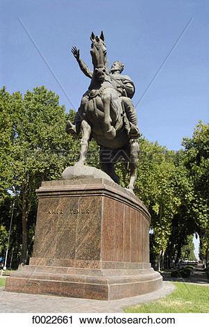 Stock Photography of Uzbekistan, Tashkent, equestrian statue of.