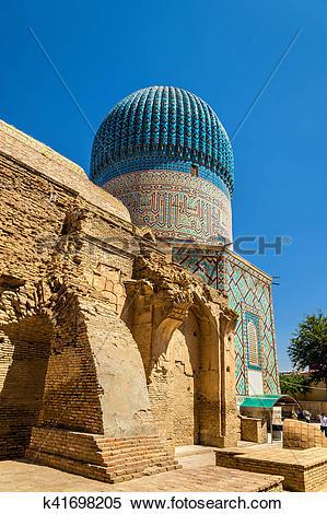 Stock Image of Guri Amir mausoleum of the Asian conqueror.