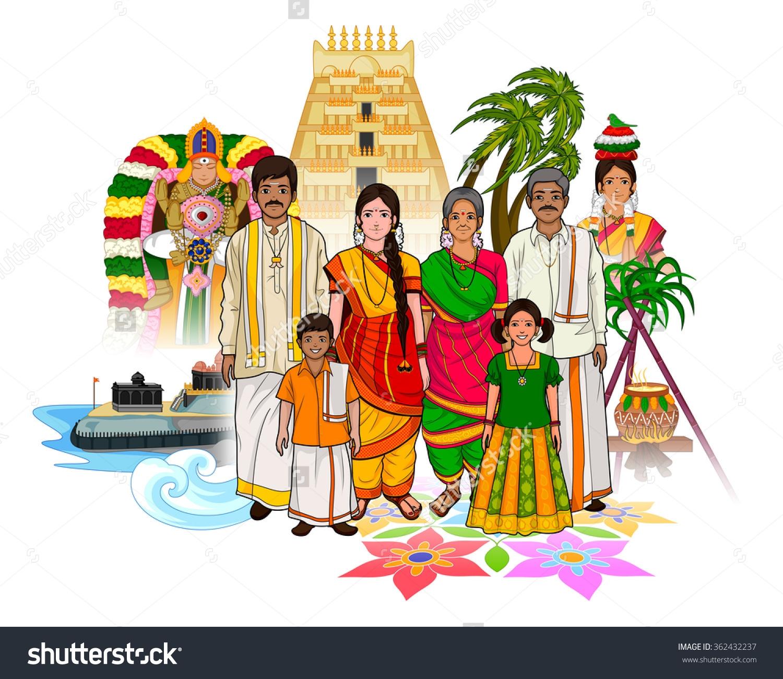 Tamil Family Clipart.