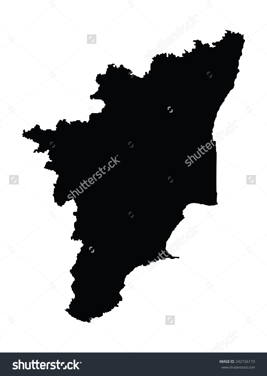 Tamil Nadu India Vector Map Isolated Stock Vector 242156173.